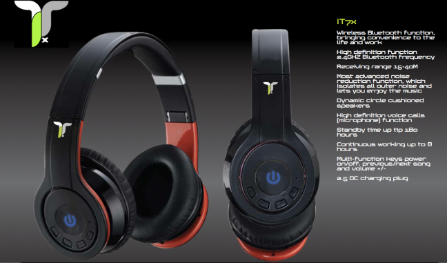 iT7x wireless Bluetooth headphones